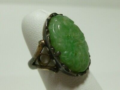 Chinese Export Sterling Silver Carved Jade Jadeite Flower Antique Signed Ring 3