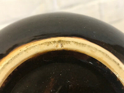 Vintage Possibly Antique Japanese Signed Pottery Brown Glazed Vase