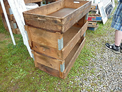 salvaged ANTIQUE WOODEN warehouse factory tray RISER stands galvanized & WOOD