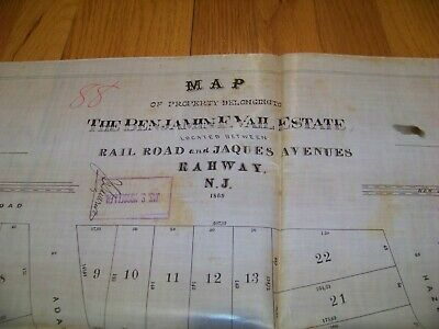1869 Map Rahway NJ Benjamin F. Vail James S. Vosseller Sauerwein Thomas Archer 2