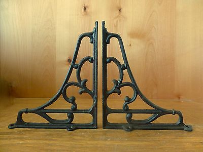 "6 LARGE BROWN ANTIQUE-STYLE 8"" SHELF BRACKETS CAST IRON rustic garden SCROLL 7"