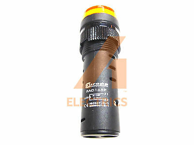 16mm LED pilot indicator lamp YELLOW 230V control signal light IP65 panel mount