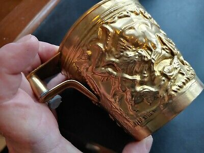 Rare Ancient Greek Mycenaean Art Replica Gold Bull Cretan Cup Hand Made Greece 4