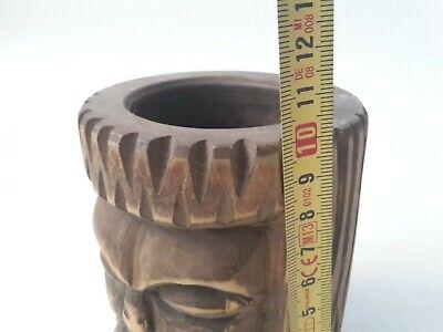 toller seltener Holz Mörser Apotheke antiker Stößel Pistill mit Gesicht RaR 9