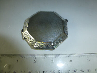 Antique Swiss Engraved Sterling Silver 8 Day 15 Jewel Mechanical Wind Up Clock 12