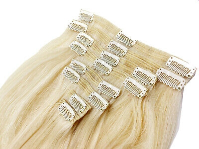 Extra THICK Double Weft Real Clip In Remy Human Hair Extensions Full Head Blonde 3