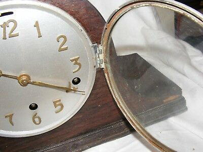Antique Working Napoleon Hat Mantel Clock Brass Letters Westminster Chimes 6