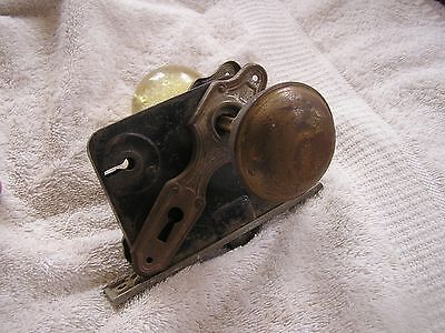 Antique Vintage Set of 2 Door Knobs Face Plates and Lock 3 • CAD $94.44