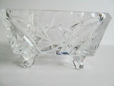 Crystal Glass Bowl Dish 4 inch Square Footed Pinwheel Etched Stars Faceted Vtg 8