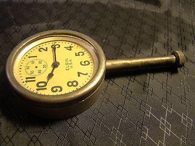 Vintage Elgin Car Clock Pocket Watch Long Stem Case Face Glass Parts or Repair 2