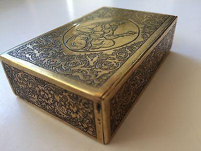 Classic Cigarette Box - 19th Ct. Persian Qajar - Signature Brass Engraved Design 6