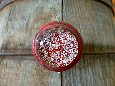 4 RED-WHITE LACE GLASS DRAWER CABINET PULLS KNOBS VINTAGE restoration hardware 4