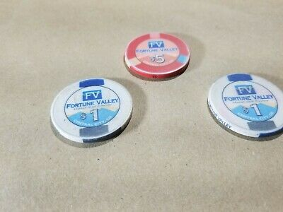 Lot of 3 Fortune Valley Casino Chips One $5, and Two $1 Central City Colorado 3