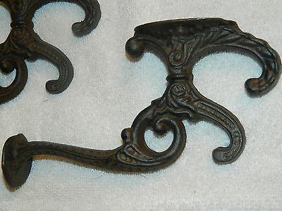 "SET/4 Heavy Ornate Victorian Style Coat Hat Hooks Cast Iron 7"" Long w/3 hooks"