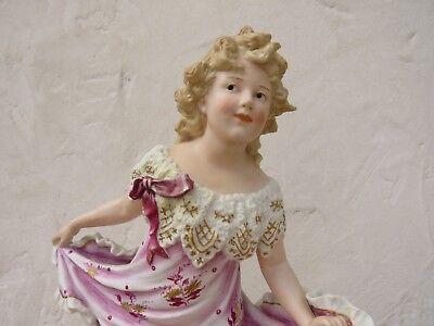 "Gebruder Heubach Hand Painted Dancing Girl Bisque Piano 15.5"" Figurine (c.1900) 2"