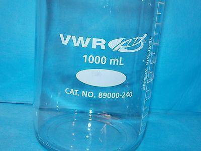 VWR 1000mL Graduated Round Media Storage Bottle GL-45 Cap 89000-240 W/ POUR RING 2