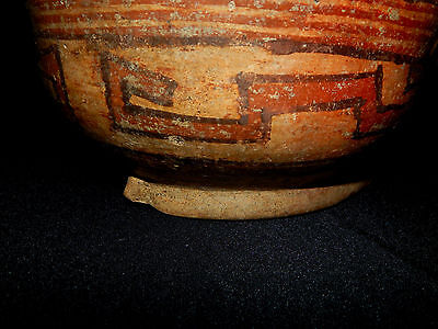 Pre-Columbian Polychrome Bowl with Seated Figure, Authentic, Costa Rica 3