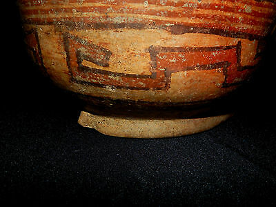 Seated Figure Polychrome Bowl, Authentic Pre-Columbian, Costa Rica 3