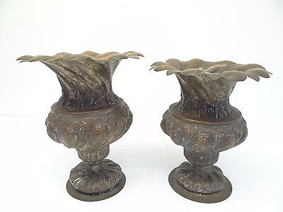 Antique Old Repoussé Hand Hammered Metal Copper Ornate Decorative Planters Urns 4