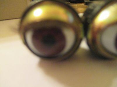 16.5 m Acrylic Blue Sleepy Eyes W// Eye Lashes Open Close MM12 2 PR Vintage 12