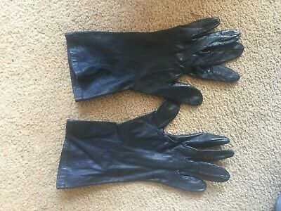 Vintage Fownes navy blue leather gloves 2