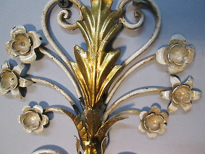 "Vintage Antique Pair Italian Tole Wheat Gold Gilt Wall Sconce Lights  22"" x 9"" 12"