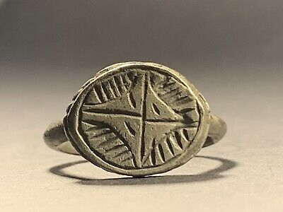 Scarce Ancient Byzantine Crusaders Silver Seal Ring With Decorated Cross Motif 2
