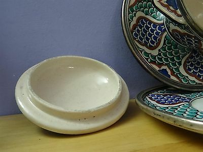 Antique Iznik ? Turkish ? Ottoman ? Pottery Plate Bowl + cover dish silver rim 11