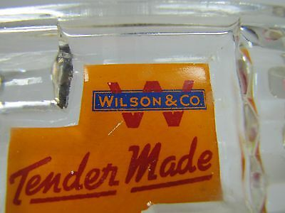 Antique WILSON & Co Tender Made HAM Advertising Art Deco Glass Ashtray ornate