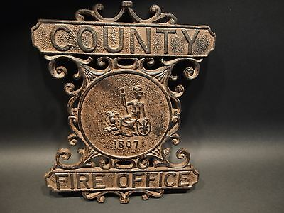 Antique Vintage Style Heavy Cast Iron County Fire Office Sign 1807 Fireman 8