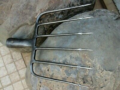 True Antique Handmade Carbon Steel Harpoon Spear Hunting Fishing Eel 5 Tines 3