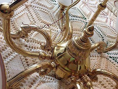 Large Brass Ornate 6 Arm Chandelier  (Massachusetts Pick-Up) 12
