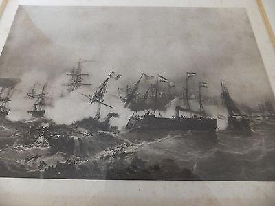1. Weltkrieg Seeschlacht Bild In Rahmen Masse Ca. 38X32 Cm 2
