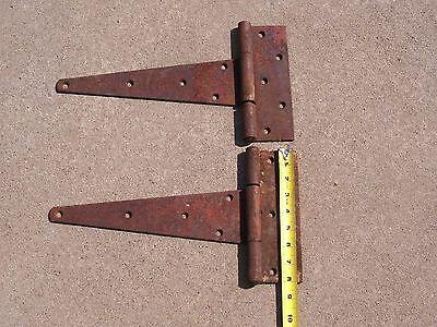 Set of 2 Antique Primitive Steel Strap Hinges Barn Door NICE RED PATINA! 3