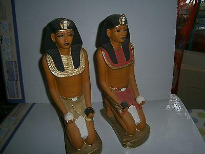 Paar große Buchstützen Ägyptische Figur 35cm handbemaltTopzustand( 826-831)SALE