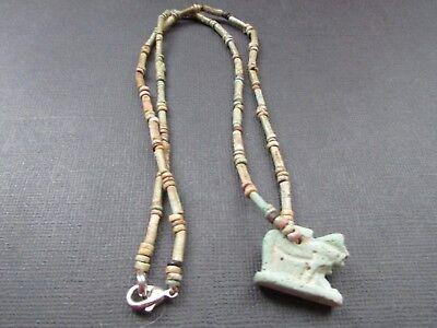 NILE  Ancient Egyptian Apis Amulet Mummy Bead Necklace ca 600 BC