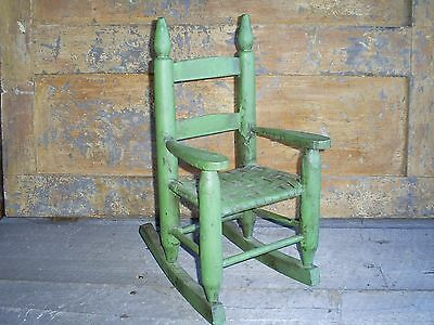 Antique Ladder Back Child's Toy Woven Splint Seat Wood Rocking Chair Old Paint 2