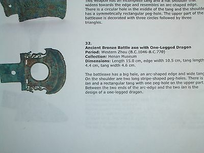 A Genuine Western Zhou Dynasty Chinese Bronze Yue War Axe 1046-770 B.C.