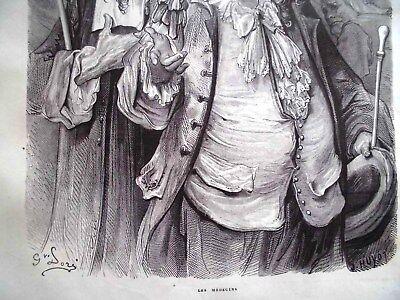 G.Dore1889/2 Blatt Holzschnitte zu LES MEDICINS:Fabeln de la Fontain.Drucksign. 4