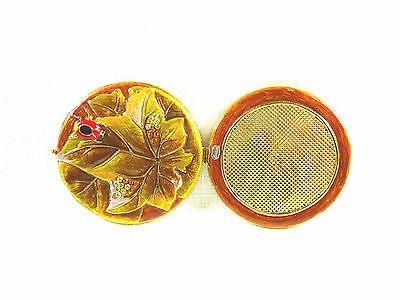 Rucinni Swarovski Crystal,Yellow Base Metal, Enamel Mirror Compact, Collectable