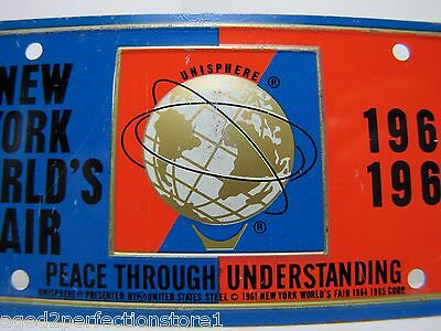 1964-65 New York World's Fair UNISPHERE Bicycle Lic Plate NYWF raised UniSphere 2