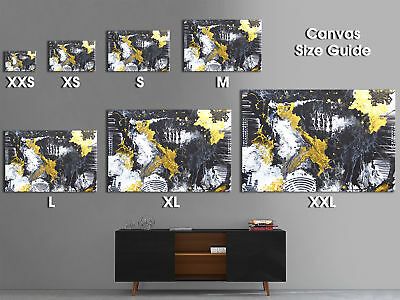 AB1751 black yellow grunge paint Abstract Wall Art Picture Large Canvas Print