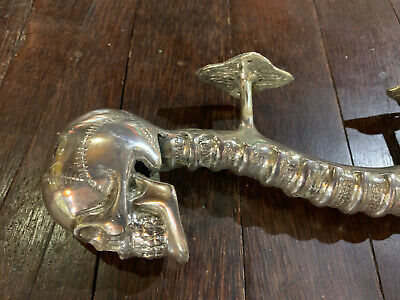 large SKULL head handle DOOR PULL spine SILVER BRASS old vintage style 33 cm B 5