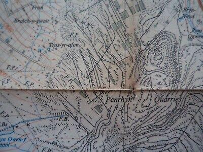 "RARE Ordnance Survey 2.5"" map SH66 Bethesda 1958 Llyn Ogwen 2"