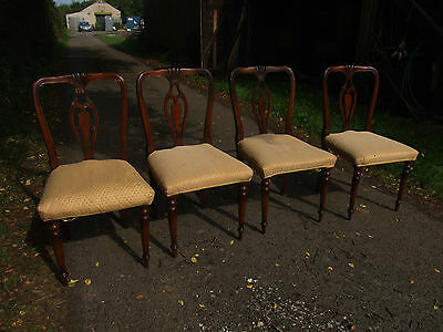set of 4 wooden chairs, upholstered seats 2