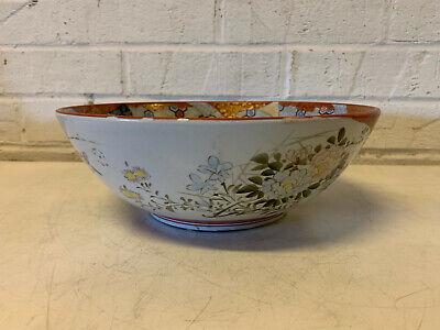 Antique Japanese Signed Kutani Porcelain Bowl w/ Figures in Landscape Decoration 6