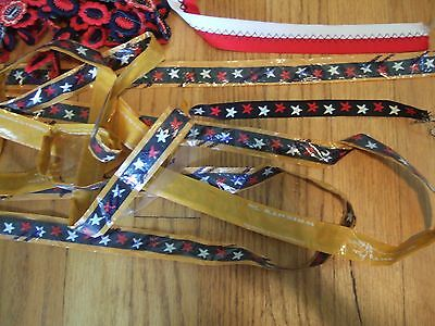 lot yds vintage nautical patriotic trim ribbon patches embroidered star anchor + 5