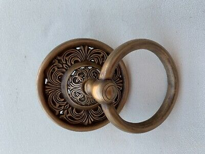 """2 handle 9cm ring pull solid brass heavy old vintage style DOOR 3.1/2"""" bolt B 10"""