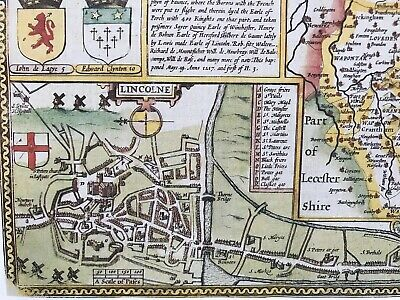 Old Antique Tudor map Lincolnshire, Lincoln, England: John Speed 1600's Reprint 3