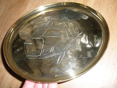 Heavy Arts And Crafts Brass Galleon Plate 2